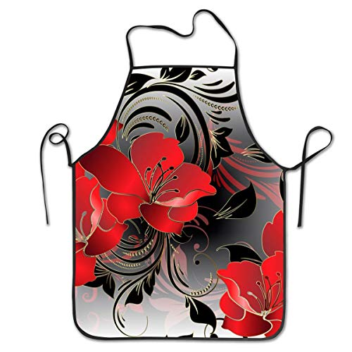 Cureably Modern Floral 3D Red Background Orchid Lily Flower Swirl Dot Personalized Bib Apron Professional Embroidery Durable Unisex Suitable for Kitchen Baking