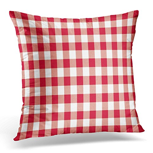 UPOOS Throw Pillow Cover Colorful Abstract Red Gingham Pattern White Check Checkered Decorative Pillow Case Home Decor Square 16x16 Inches Pillowcase (Coral Colored Napkins Paper)