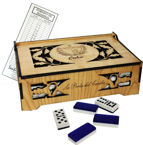 Cuban Style Domino Deluxe Double Nine Set in a Beautifully carved wood box. Score Pad Included