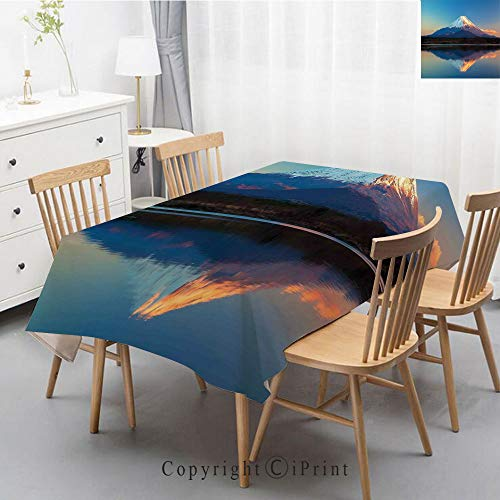Shoji Square - Printed Pattern Washable Table cloth Dinner Kitchen Home Decor Vintage Flower Decorative Square Linen Tablecloth,47x63 Inch,The Far East Nature Decor,Mount Fuji and Lake Shoji Picture Clear Sky Sunset