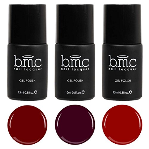 BMC 3pc Red and Purple Gel Lacquer Polish Set - Femme Fatale - Siren Wine Red