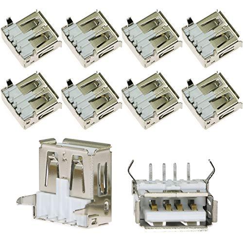 ToToT 10pcs 90 Degree 4-Pin USB Type A Standard Port Female Solder Jacks Connector PCB Socket USB-A Type SMT (Usb Micro Female Solder)