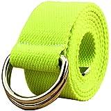 SODIAL Casual Unisex D-Ring Cloth Belt Canvas Belt Knitting Canvas Belt 110 x 3.8CM black