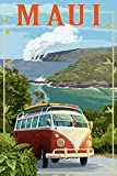 Maui, Hawaii - VW Van Cruise (24x36 SIGNED Print Master Giclee Print w/ Certificate of Authenticity - Wall Decor Travel Poster)