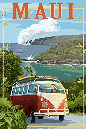 Maui, Hawaii - VW Van Cruise (24x36 SIGNED Print Master Giclee Print w/ Certificate of Authenticity - Wall Decor Travel Poster) by Lantern Press