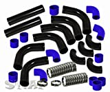 """2.5"""" inch 12pc Universal Custom Piping Kit + 3 Ply Coupler Hose + T-Bolt Clamp (Black Piping Blue Coupler)"""