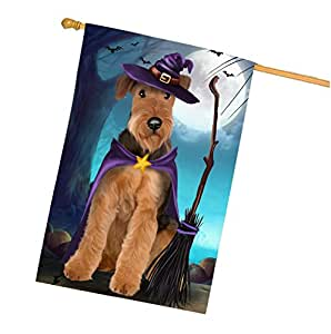 Happy Halloween Trick or Treat Airedale Dog Witch House Flag