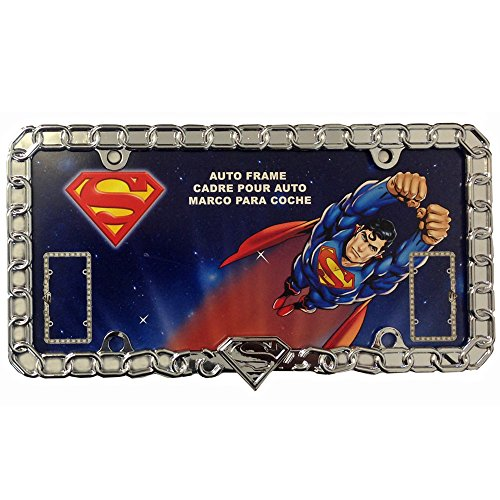 Superman Unchained Shield Logo DC Comics NFL Team Logo Auto Car Truck SUV Vehicle Universal-fit License Plate Frame - Chrome Metal - SINGLE