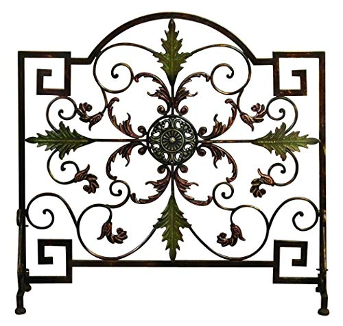 Benzara BM00584 Domed Top Leaf Patterned Single Panel Metal Fire Screen, Bronze and Green