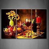 Primera Wall Art–vela y flores y diversas fotos de fruta y tuerca de arte de la pared pintura impresión sobre lona Alimentos La Imagen para casa moderna decoración, 16x32inchx3Panel