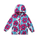 Yilaku Girls Floral Fleece Lined Light Outdoor Windproof Jacket with Hood (8-9 Years, Red)