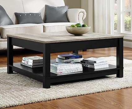 Amazoncom Square Black Coffee Table With Storage Area Side Table