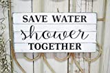 Wooden Sign for Home Decor Save Water Shower Together Wood Slat Sign Sayings