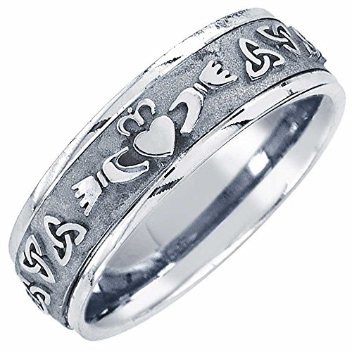 Platinum Celtic Claddagh Men's Comfort Fit Wedding Band (7mm) Size-8.5c1