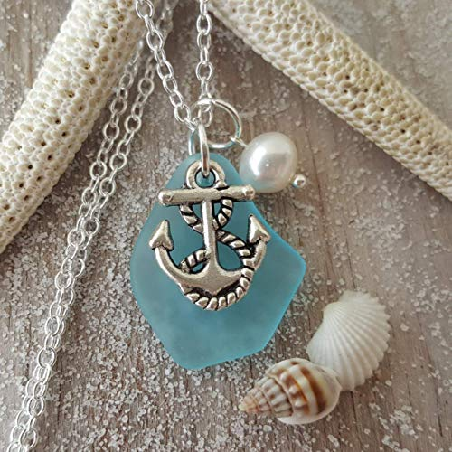 Handmade in Hawaii, Turquoise Bay Blue sea glass necklace,anchor charm, fresh water pearl, sterling silver chain, FREE gift wrap, FREE gift message, FREE ()