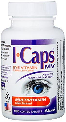 Alcon ICaps multivitamínico ojo vitaminas y minerales ayuda, comprimidos recubiertos, 100 comprimidos