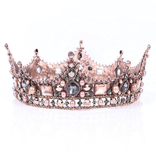 Leiothrix Bride Wedding Flower Crowns and Tiaras Baroque Bridal Queen Hair Accessories Gold for Women Bridemaids - Flower Clown Costume Accessories