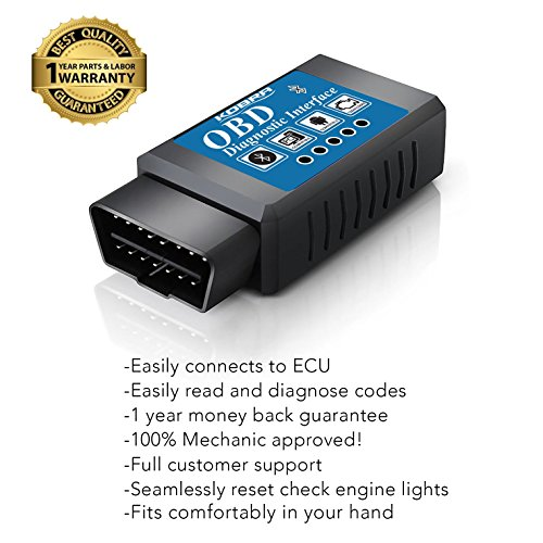 Goliath Industry OBDII OBD2 Bluetooth Auto Diagnostic Scanner Tool Engine Light Check Wireless Data Feed To Your Cell Phone Compatible With Android & Windows