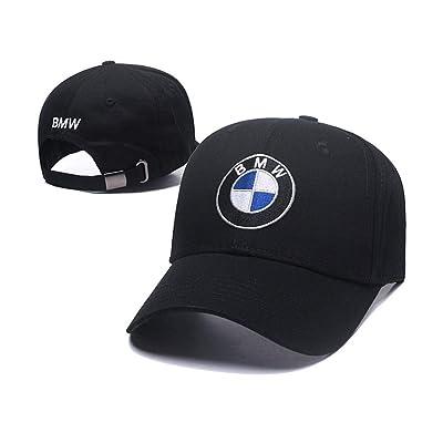 Car Logo Adjustable Baseball Cap, Unisex Hat Travel Cap Car Racing Motor Hat for BMW (Black): Automotive