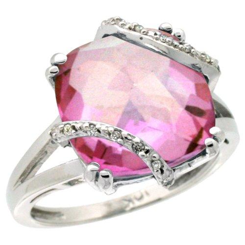 Revoni - Bague de fiançailles - Or Blanc 375/1000 (9 ct) - Topaze Rose - Diamant - Pierre de naissance Décembre