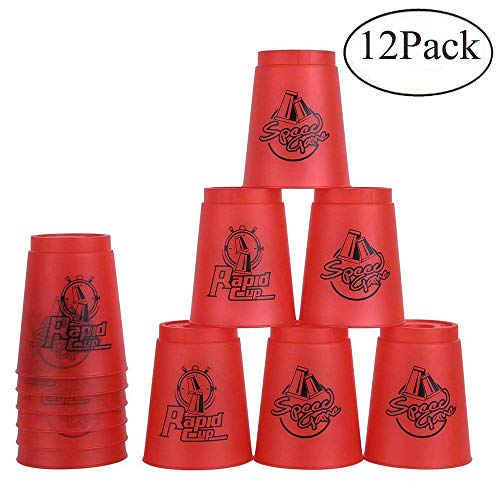 - Bestie-Gear Quick Stacks Cups, Sports Stacking Cups Speed Training Set of 12 with Carry Bag (Red)