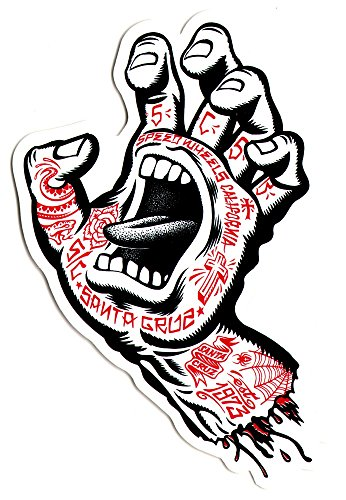Santa Cruz Screaming Tattoo Hand Skateboard Sticker – Approx 15cm high. skate surf snow bmx guitar