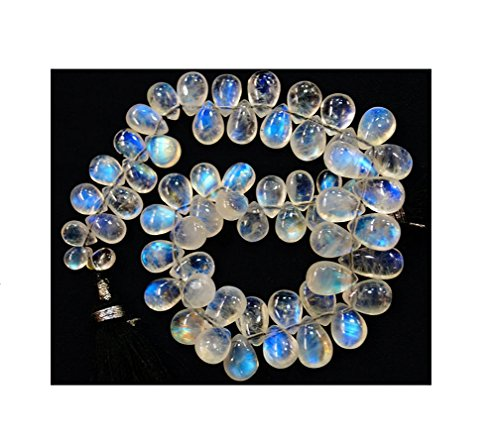 (Natural Blue Flash Rainbow Moonstone Gem stone Beads Line, Complete Strand, For Necklace, Jewelry, smooth briolette moon stone pear shape beads, 4x6mm to 6x10mm, 8