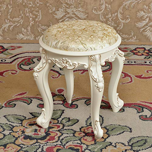 TENCMG Pastoral-Style Solid Wood Dressing Stool, Modern Fashion Fabric Shoe Bench Makeup Stool for Home Living Room Bedroom-f 35x35x42cm