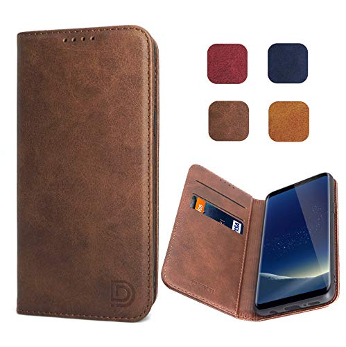 Samsung Galaxy S8 Case Cover Wallet Brown for Men Women Dekii S8 Leather Flip Case with Magnetic Closure Card Holder Kickstand Business Style Full Body Protective Phone Case Cover for Galaxy S8 (Best Leather S8 Case)