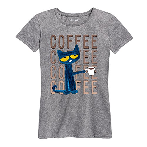 Pete the Cat Pete with Coffee Adult - Ladies Short Sleeve Classic Fit Tee (Pete The Cat T Shirts For Adults)
