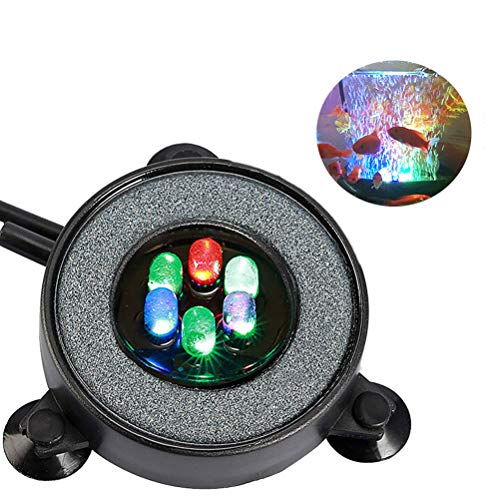 MingDak LED Aquarium Air Bubble Light Fish Tank Air Bubble Stone Disk Round with 6 LED Light for Fish Tank Aquarium -