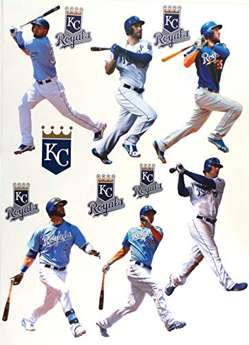 FATHEAD Kansas City Royals Mini Graphics Team Set 6 Players + 6 Royals Logo Official MLB Vinyl Wall Graphics - Each Player 7