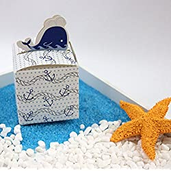 Bueer 100pcs Whale Design Candy Favor Chocolate Gift Box Bonbonniere for Baby Shower Wedding Party Favor Birthday Anniverary Bridal Shower Decoration