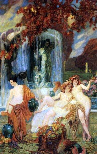 Jean Paul Femme - Paul Jean Gervais Jeunes femmes a la Vasque - Allegorie de Lautomne - 18.1