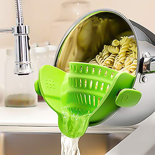 SOOHAO Snap Strainer Kitchen Food Strainers Clip-on Strainer with Cooking Tongs Heat Resistant Silicone, Universal Fit On All Pots and Bowls Home Cooking(Green)