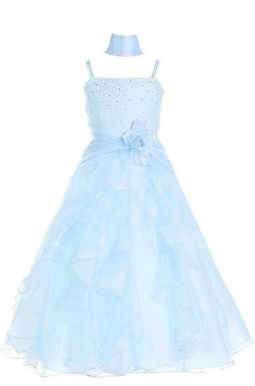 Amazon Amj Dresses Inc Little Girls Sky Blue Flower Girl