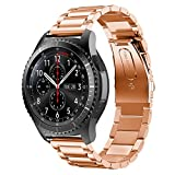 YSS Gear S2 Classic/Gear Sport 20mm Watch Band, Quick Release Premium Solid Stainless Steel Metal Business Replacement Bracelet Strap for Men's Women's Watch (Rose Gold)