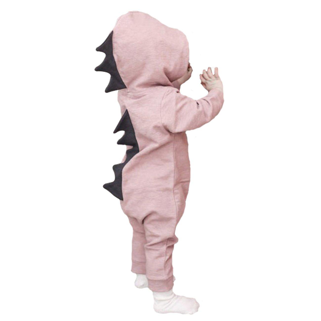 DRESHOW BQUBO Baby Cartoon Onesies Dinosaur Romper Long Sleeve One-Piece Jumpsuit 6-12 Months Pink / Button Front
