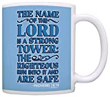 Bible Verse Gifts Name of the Lord is a Strong Tower Proverbs 18:10 Gift Coffee Mug Tea Cup Blue
