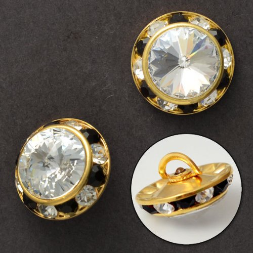 5/8' Gold Shank Button (16mm Rivoli Rhinestone Button with Shank by 2PCS, Crystal/Gold, SP-2061)