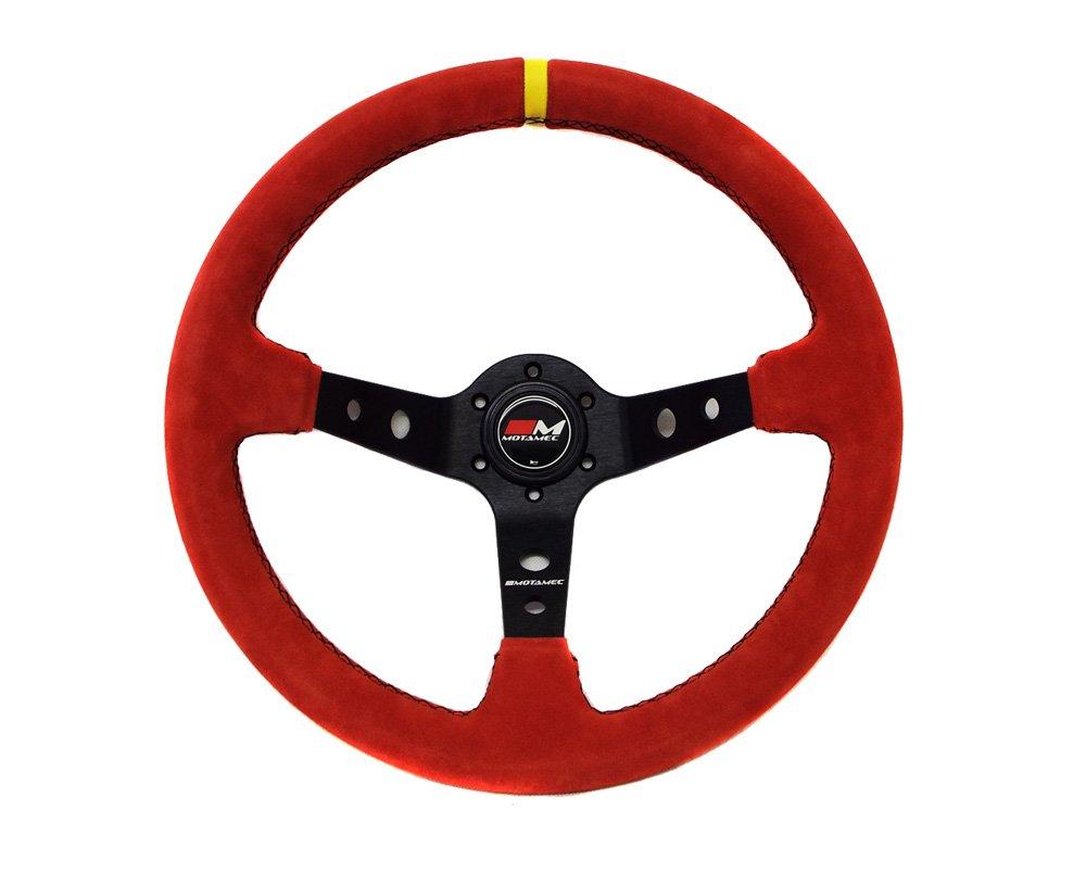 Motamec Rally Steering Wheel Deep Dish 350mm Red Suede Black Spoke