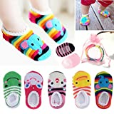 Yshare® 5 Pairs Girls 6-24 Month Cartoon Baby Toddler Anti Slip Skid Low Cut Boat Socks + Gift Bangle With bags No Show Newborn Socks