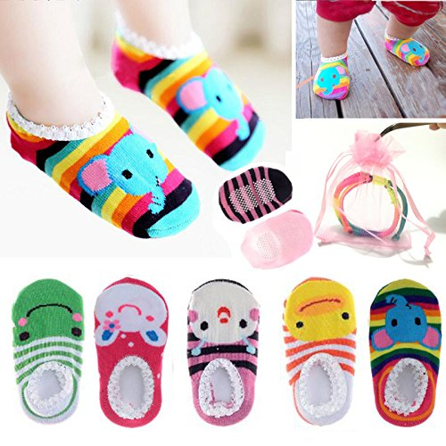 Yshare¨ 5 Pairs Girls 6-24 Month Cartoon Baby Toddler Anti Slip Skid Low Cut Boat Socks + Gift Bangle With bags