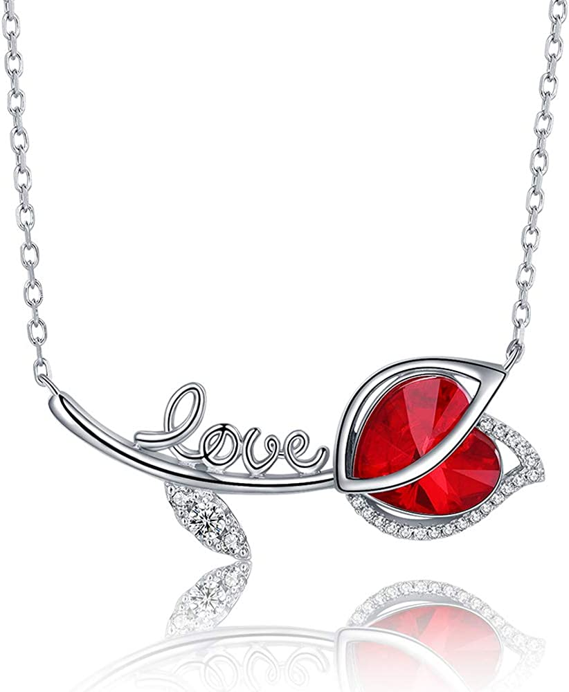 Niumike Crystal Cubic Zirconia Heart Pendant Necklace with Extender