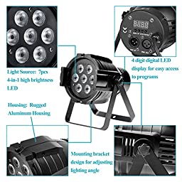 GBGS RGBW LED PAR Light 10W 7 LED 8 Channel DMX512 Stage Lighting Super Bright