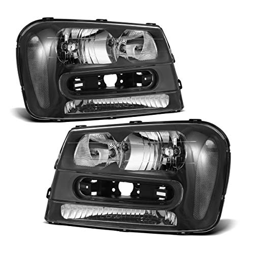 Headlight Assembly Replacement for Chevy Chevrolet Trailblazer 02 03 04 05 06 07 08 09 2WD 4WD AWD, Driver and Passenger Side Pair Headlamp Replacement Chrome Housing GM2502213 ()