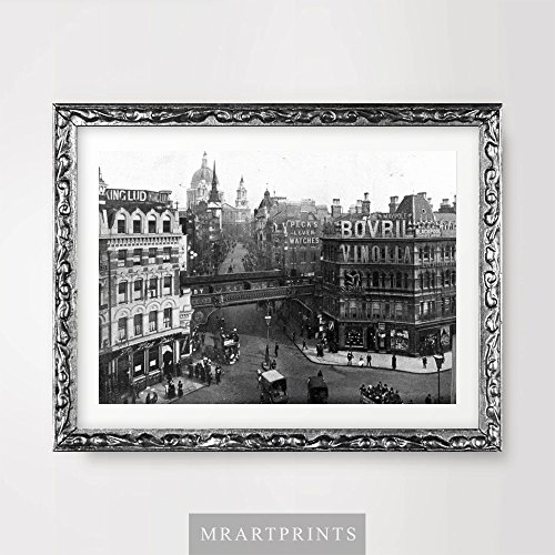LONDON PICCADILLY CIRCUS VINTAGE ANTIQUE PHOTOGRAPH ART PRINT Poster Black White Home Decor Room Interior Design Wall Picture A4 A3 A2 (10 Size Options)