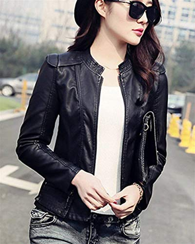 Fit Femme Spécial Manches Automne Moto Cuir Loisir En Style Court Synthétique Veste Longues Fashion Unicolore Jacken Elégante Motard De Schwarz Slim 4dHOwBq4
