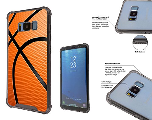 002824 Sports Ball American Basketball Samsung Galaxy S8+ Plus Corner Airbag Shockproof Case All Edges Protection Gel&Hard plastic Defender Slim (Hard Basketball)
