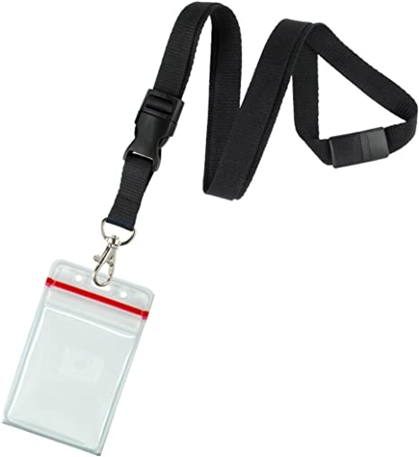5 x Staff Black Lanyard with Quick Release Buckle and 5 x Clear ID Card Holder